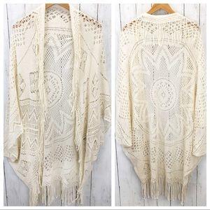 American Eagle Boho Crochet Boho Shawl O/S